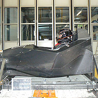 Limited-production monocoque vehicle on the sled to simulate a side crash in line with ECE-R95