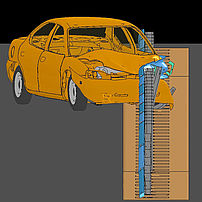 Crash barrier impact simulation with TB32
