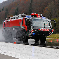 Airfield fire engine braking effect test