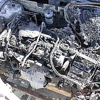 Fire damage after incorrectly filling a diesel vehicle with petrol