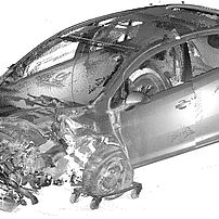 Scan of a vehicle after a collision at a crossroads