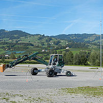 Noise emission measurement of a digger at the DTC test site