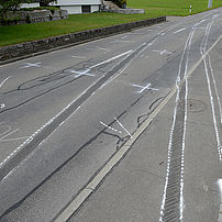 Marking tracks at the accident site