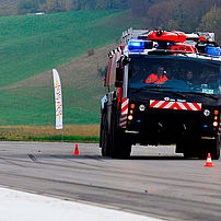 Airfield fire engine lane change